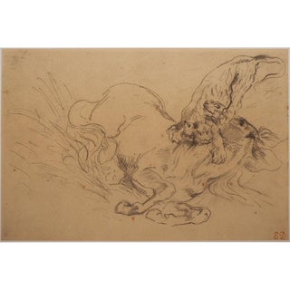Delacroix Tiger Mauling a Wild Horse 1959 Lithograph For Sale