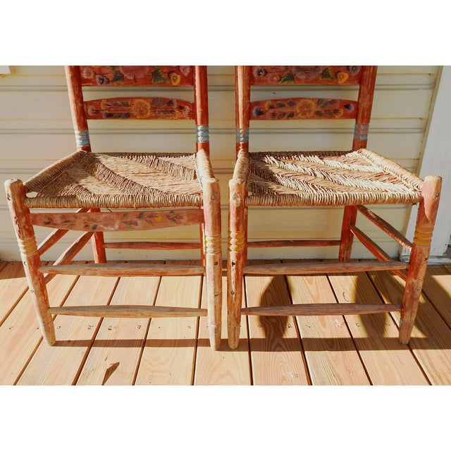 Vintage Painted Mexico Folk Art Rush Seat Chairs - a Pair For Sale - Image 9 of 11