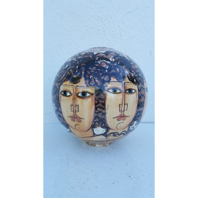 Vintage Hand-Painted Face Ceramic Vase For Sale - Image 10 of 10