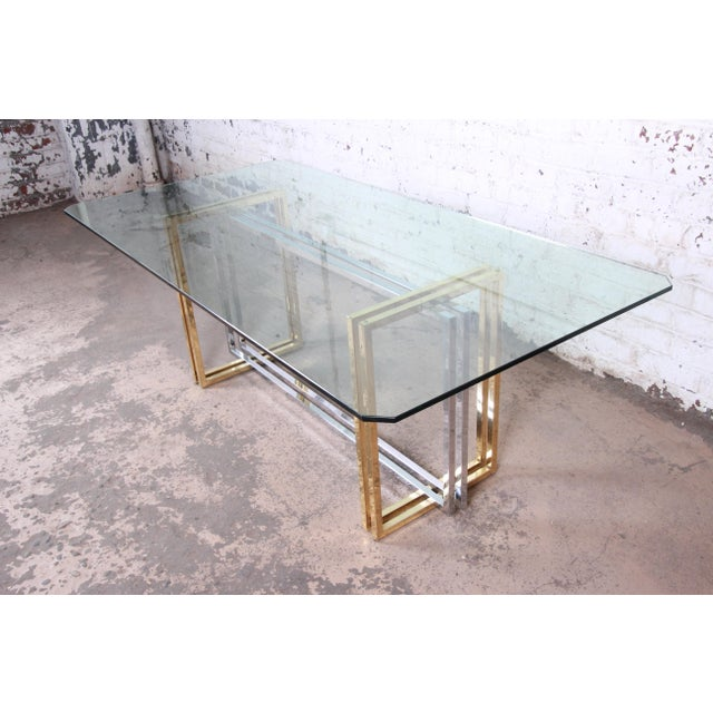 1970s Hollywood Regency Dining Table in Brass, Chrome, and Glass For Sale - Image 5 of 8