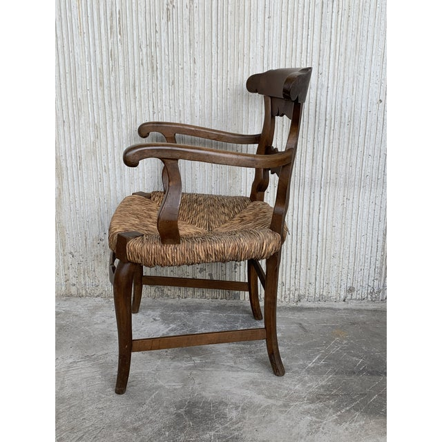 Brown 19th Century Set of Six Armchairs With Straw Seat. Dining Room Chairs For Sale - Image 8 of 13