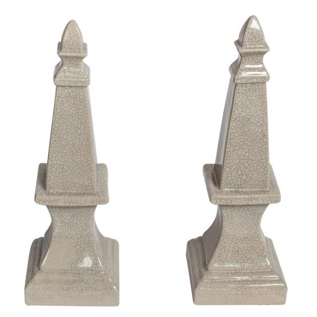 Ceramic Obelisks - A Pair - Image 1 of 4