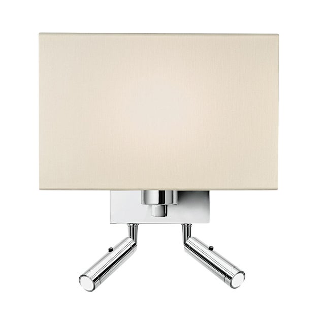 Combination Wall Light With Twin Led Reading Light in Polished Chrome For Sale