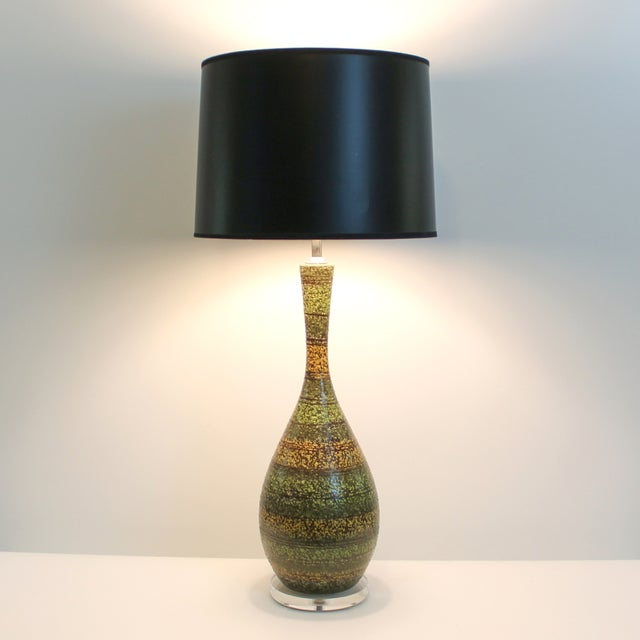 Mid-Century Striped Green Ceramic Lamps - A Pair For Sale - Image 7 of 7