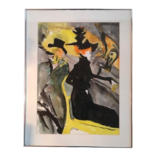 Watercolor Painting Styled After French Artist Toulouse Lautrec For Sale