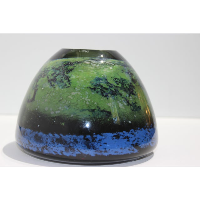 Vintage Murano Massimiliano Schiavon Thick Glass Artisan Bowl Signed Gaio 81 For Sale - Image 11 of 13
