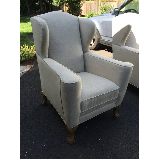 Restoration Hardware Linen Club Wing Chairs - Pair - Image 3 of 6