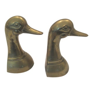 """Duck, Duck"" Brass Bookends - a Pair For Sale"