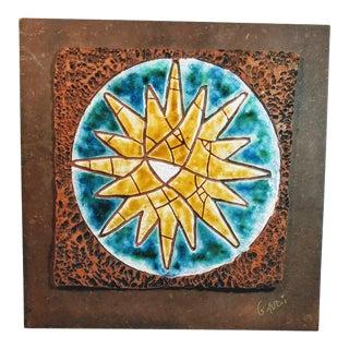 Vintage Gaudi Sunburst Mosaic, Signed For Sale