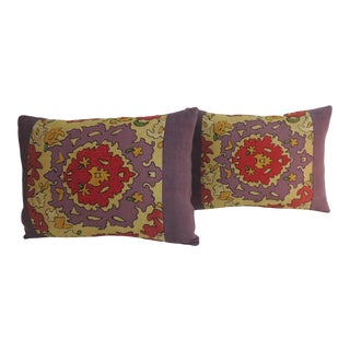 Pair of Vintage Suzani Embroidery Purple Lumbar Decorative Pillows For Sale