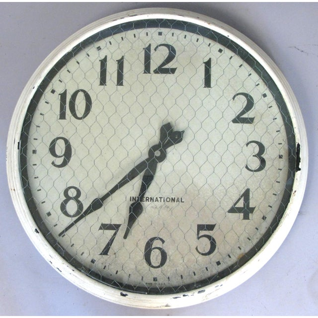 Antique International Enameled Steel Factory Clock With Original Safety Glass For Sale In New York - Image 6 of 6