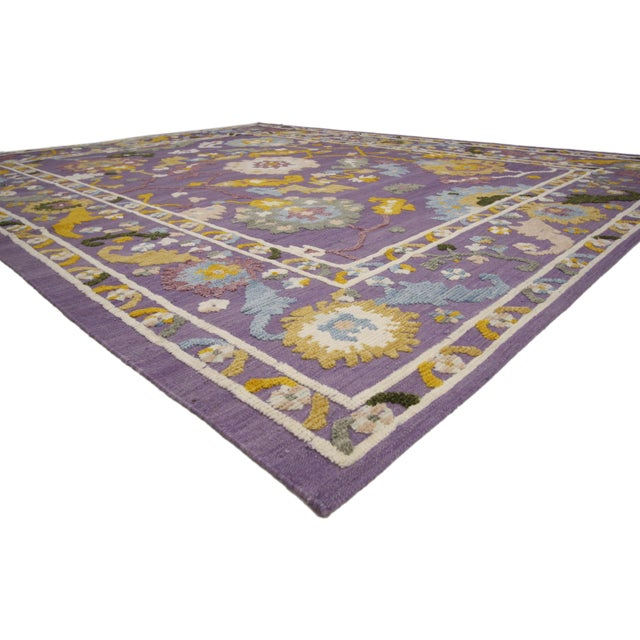 Blue Geometric Oushak High and Low Texture Rug- 10′5″ × 13′2″ For Sale - Image 8 of 10