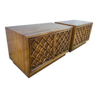 1960s Mid Century Modern Fruitwood Nightstands - a Pair For Sale