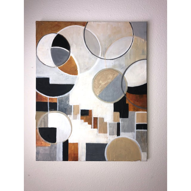 White Contemporary Modernist Shapes Abstract Acrylic Painting For Sale - Image 8 of 8