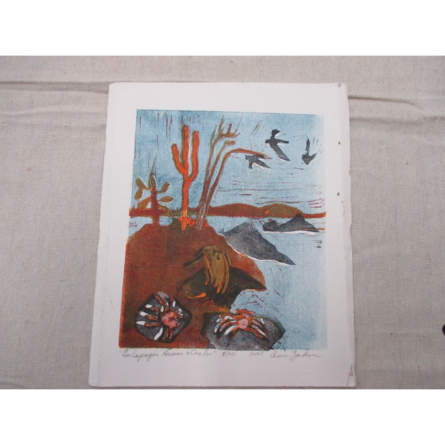 2000 - 2009 Vintage Lithography of Galapagos Herons and Crabs Signed by Artist: Ann Zahn For Sale - Image 5 of 5