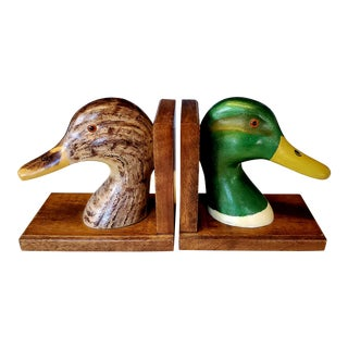 Vintage Brown and Green Wooden Duck Bookends For Sale