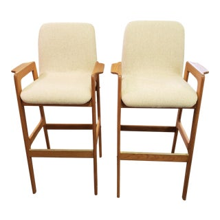 Mid-Century Modern Benny Linden Solid Teak Bar Stools- A Pair For Sale