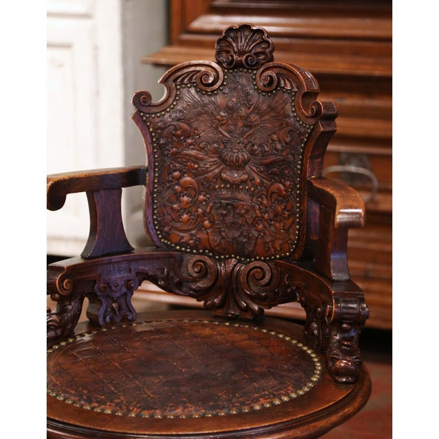 Victorian 19th Century English Carved Oak and Embossed Leather Lady's Desk Armchair For Sale - Image 3 of 13