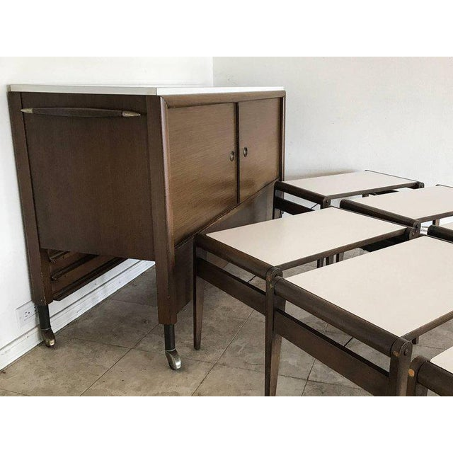 1950s Unique John Keal Server with Six Folding Tables - Set of 7 For Sale - Image 10 of 11