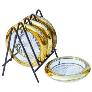 Brass & Glass Coasters W/ Holder, 5 Pieces For Sale