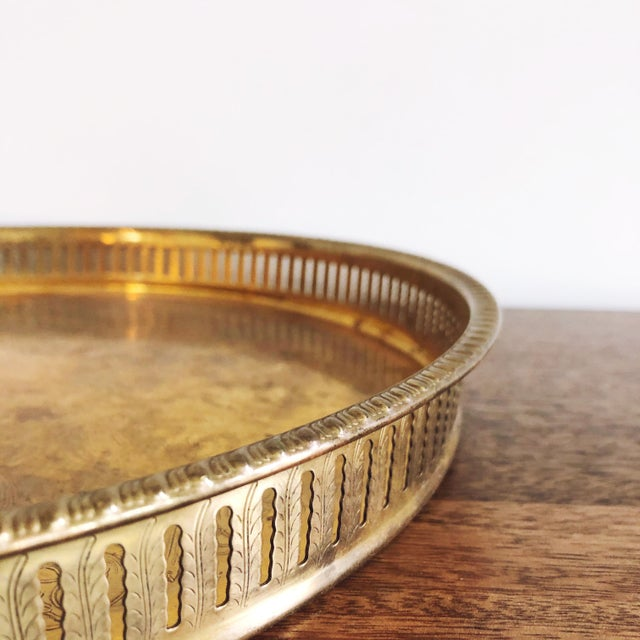 Vintage Engraved Brass Circular Tray For Sale In Austin - Image 6 of 8