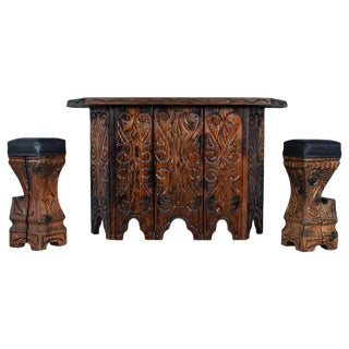 Midcentury Hand Carved Witco Tiki Bar and Barstool Set by William Westenhaver For Sale