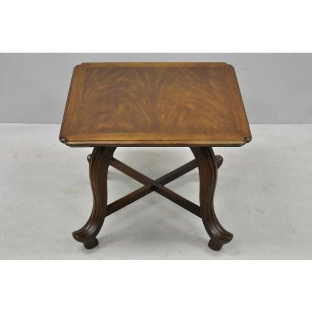 20th Century Hollywood Regency John Widdicomb Walnut Low Side Table For Sale - Image 10 of 11