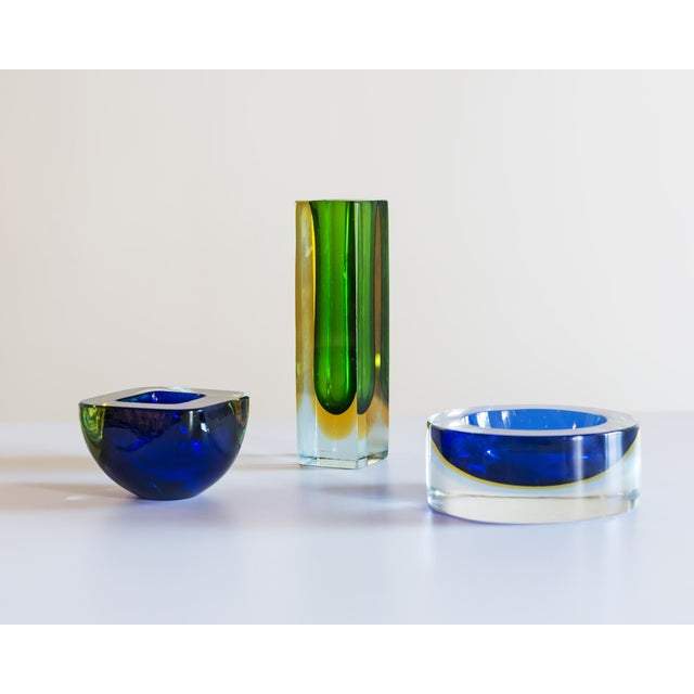 Glass Murano Glass Sommerso Square Bowl in Blue and Yellow, 1960s For Sale - Image 7 of 8
