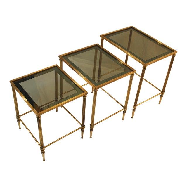 1950's Modern Italian Brass Nesting Tables - Pair For Sale