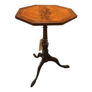 Three Leg Tilt Top W/ Octagon Dual Tone Inlay Wood Circular End Table