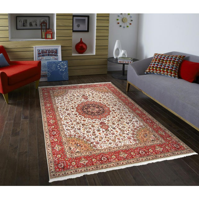 "Pasargad Persian Tabriz Silk & Wool Rug - 9'11"" X 13' 0"" For Sale - Image 5 of 5"