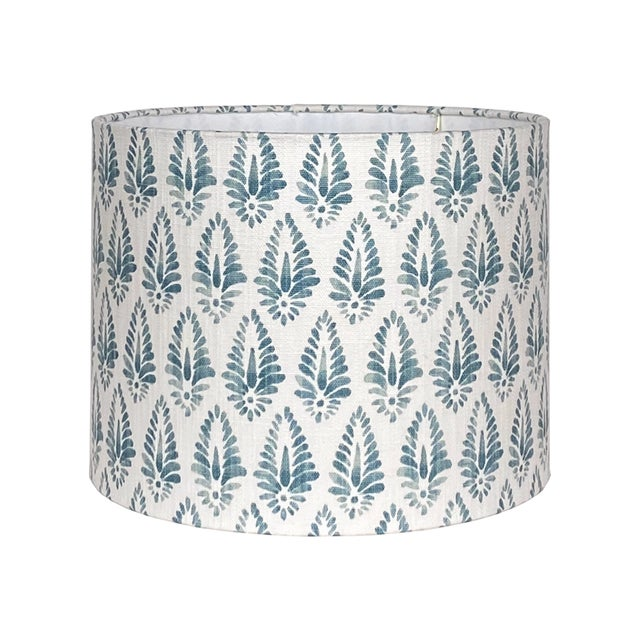 Blue Patterned Lamp Shade For Sale - Image 4 of 5