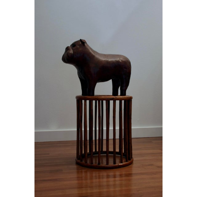 Circa 1970's leather bulldog footstool, originally designed by Dimitri Omersa for Liberty London circa 1960s, this being a...
