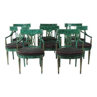1980s Napoleon III Maitland Smith Faux Painted Malachite Dining Room Armchairs - Set of 8 For Sale
