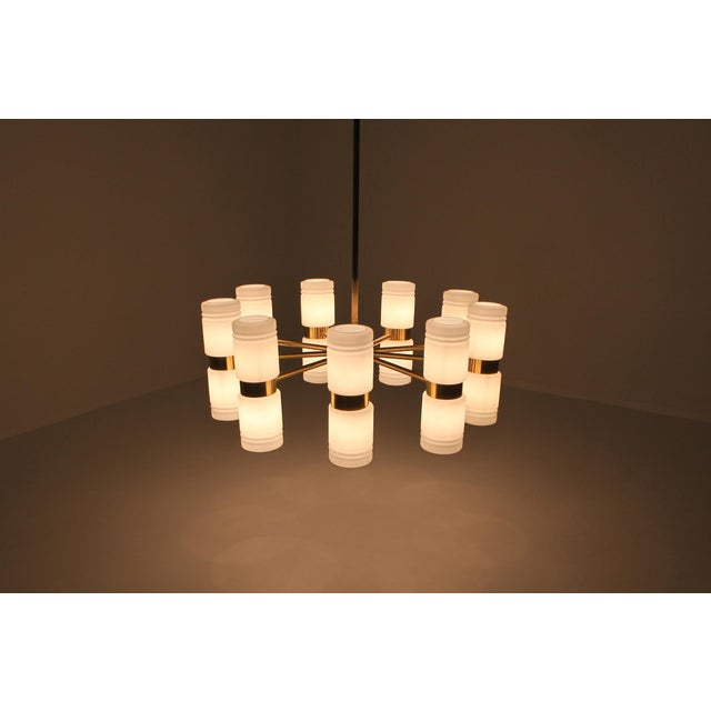 Hans-Agne Jakobsson Brass and Milky Opaline Glass Chandelier For Sale - Image 9 of 10