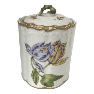Asprey Anna Weatherly Hand Painted Tulip & Insect Fine Porcelain Biscuit Jar For Sale