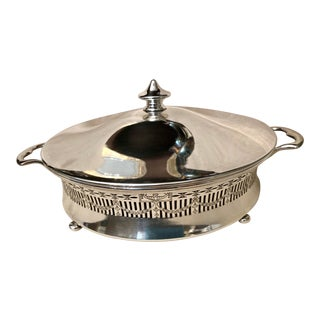 Vintage Silver-Plated Covered Serving Dish For Sale