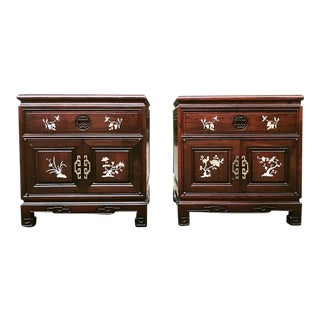 1960s Chinoiserie Side Tables With Pearl Inlay - a Pair
