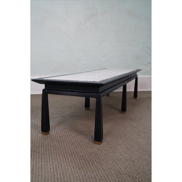 James Mont Mid Century Ebonized Marble Top Table - Image 3 of 10