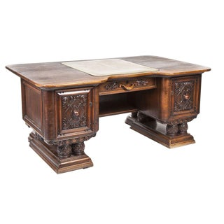 19th Century Jacobean Sculpted Walnut Pedestal Desk With Leather Top For Sale
