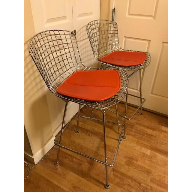 Metal Knoll Bertoia Chrome Bar Stools - A Pair For Sale - Image 7 of 7