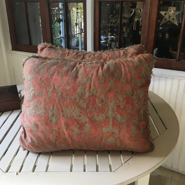 1980s Fortuny Fabric Pillows - a Pair For Sale - Image 6 of 6