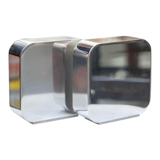 1970s Solid Metal Chrome Bookends by Radius One Smith- a Pair For Sale