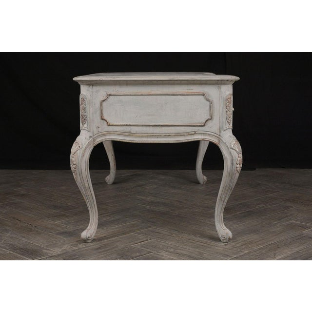 French Traditional Louis XV-Style Distressed Finish Desk For Sale - Image 3 of 13
