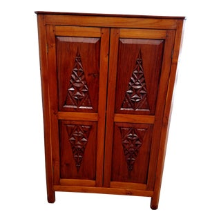 2000s Asian Teak Corner Cabinet For Sale