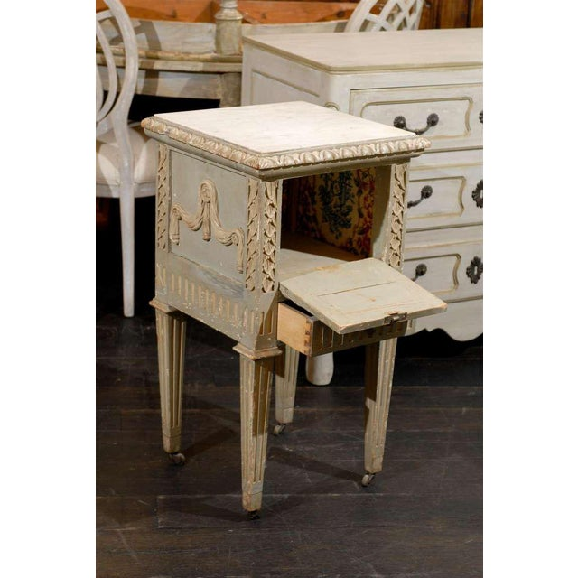 Marble French Drop-Front Nightstand Table on Casters and Marble Top For Sale - Image 7 of 11