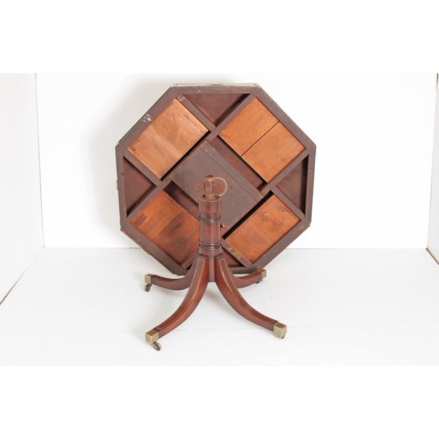English Regency Drum Table With Campaign-Style Hardware / Filttings For Sale - Image 10 of 12