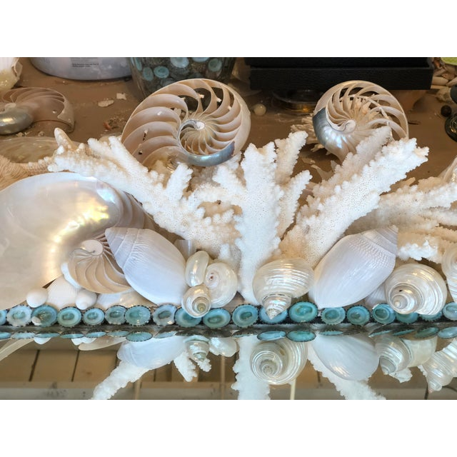 Contemporary Large Horizontal Seashell & Coral Mirror For Sale - Image 3 of 10