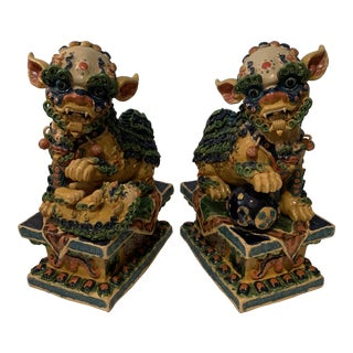 Vintage Elaborate Foo Dogs - a Pair For Sale