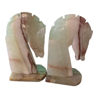 Vintage Marble Horse Bookends - a Pair For Sale